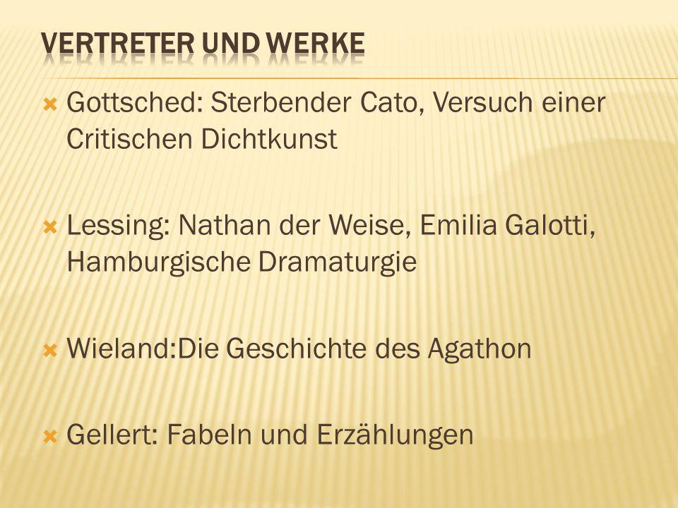  Gottsched: Sterbender Cato, Versuch einer Critischen Dichtkunst  Lessing: Nathan der Weise, Emilia Galotti, Hamburgische Dramaturgie  Wieland:Die