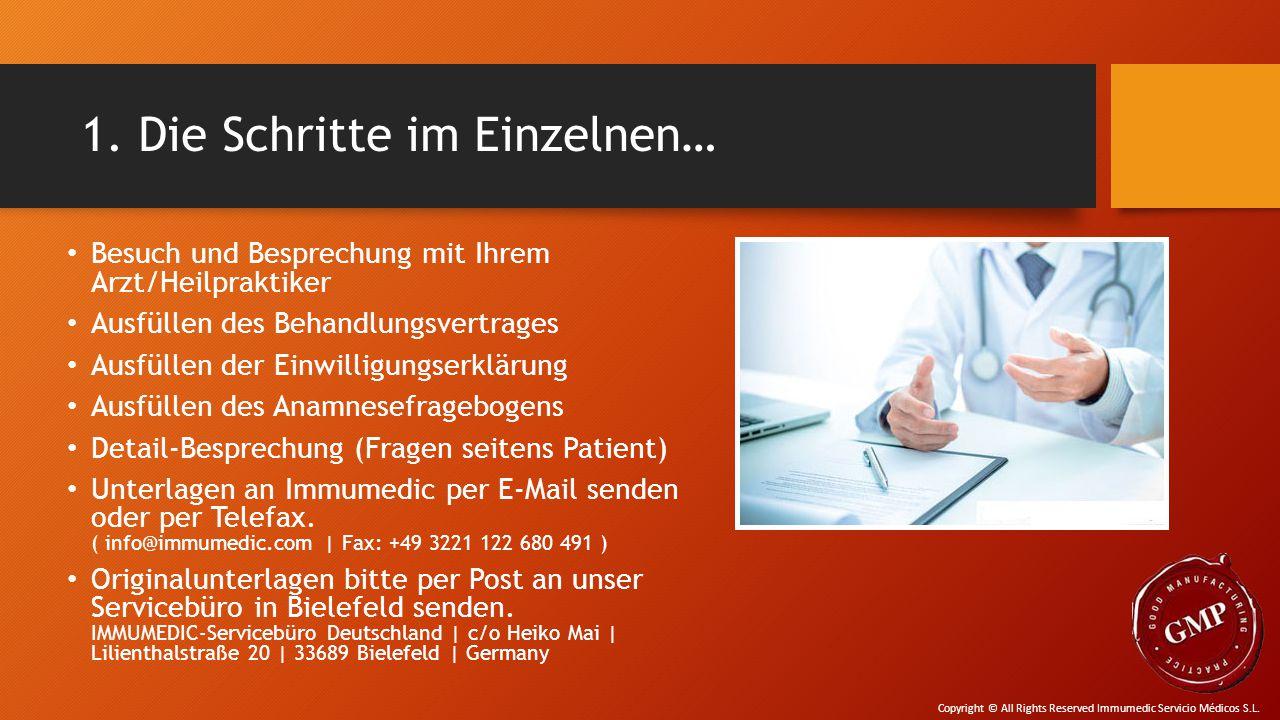 1. Die Schritte im Einzelnen… Besuch und Besprechung mit Ihrem Arzt/Heilpraktiker Ausfüllen des Behandlungsvertrages Ausfüllen der Einwilligungserklär
