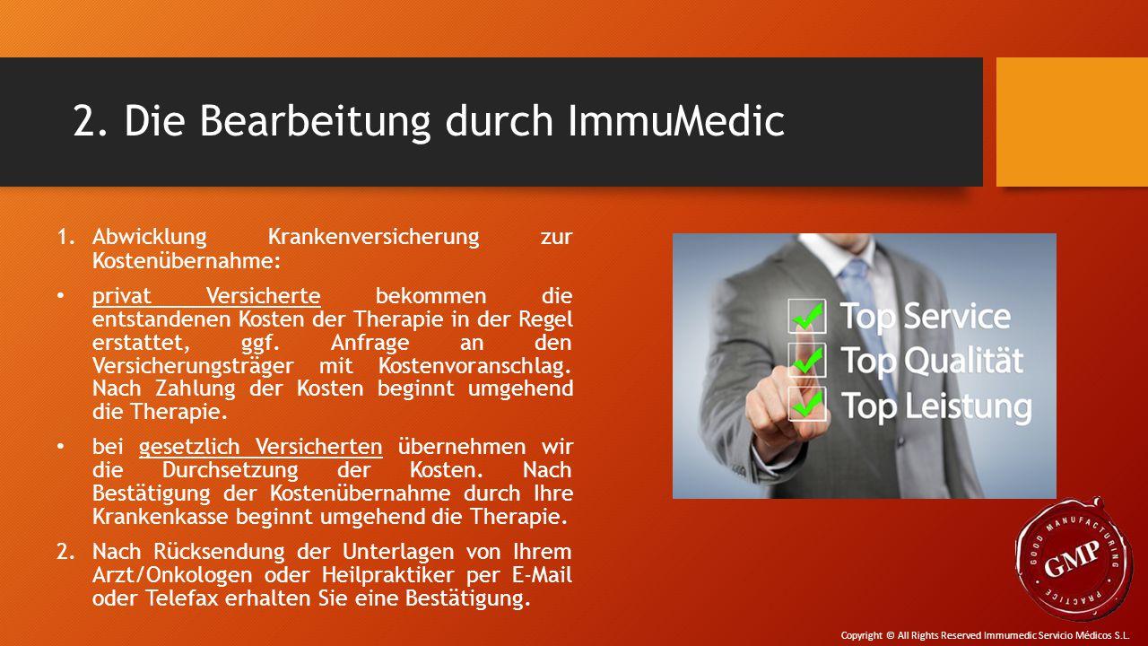 2. Die Bearbeitung durch ImmuMedic 1.Abwicklung Krankenversicherung zur Kostenübernahme: privat Versicherte bekommen die entstandenen Kosten der Thera