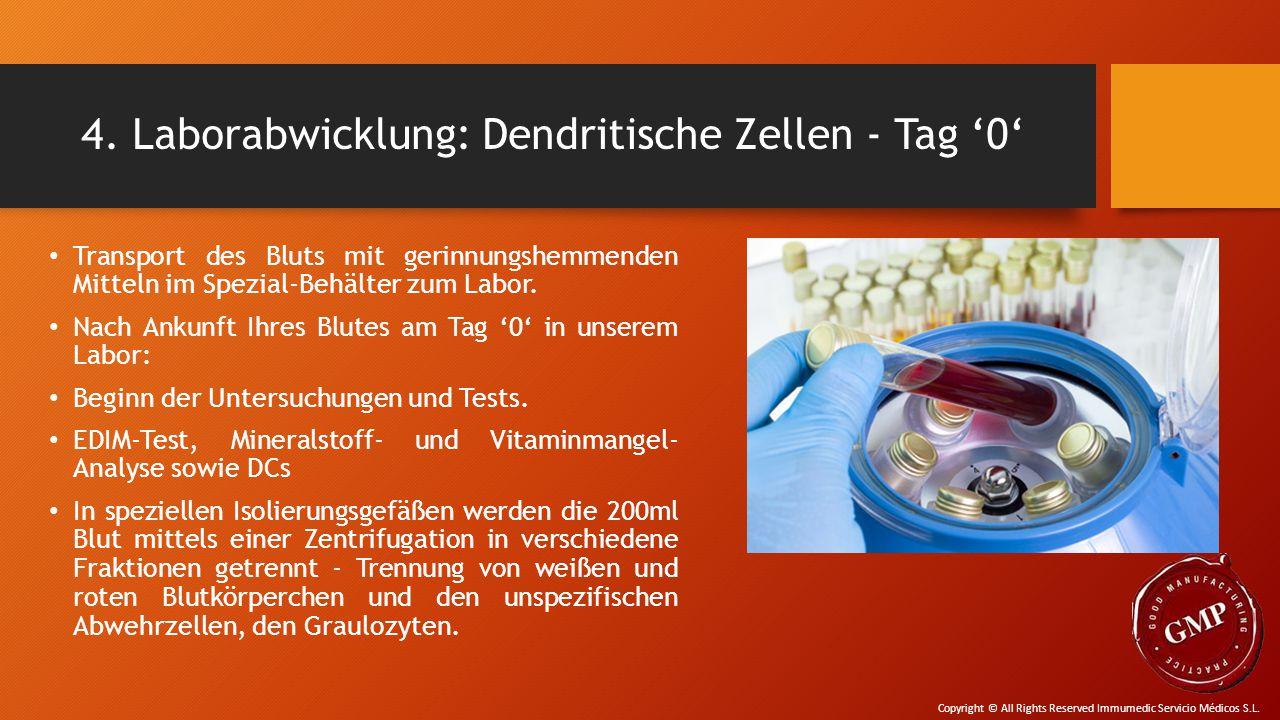 4. Laborabwicklung: Dendritische Zellen - Tag '0' Transport des Bluts mit gerinnungshemmenden Mitteln im Spezial-Behälter zum Labor. Nach Ankunft Ihre