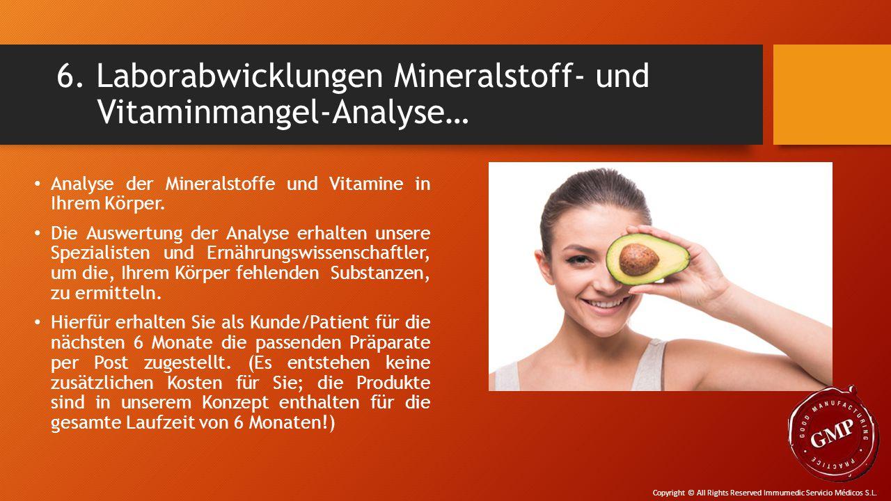 6. Laborabwicklungen Mineralstoff- und Vitaminmangel-Analyse… Analyse der Mineralstoffe und Vitamine in Ihrem Körper. Die Auswertung der Analyse erhal