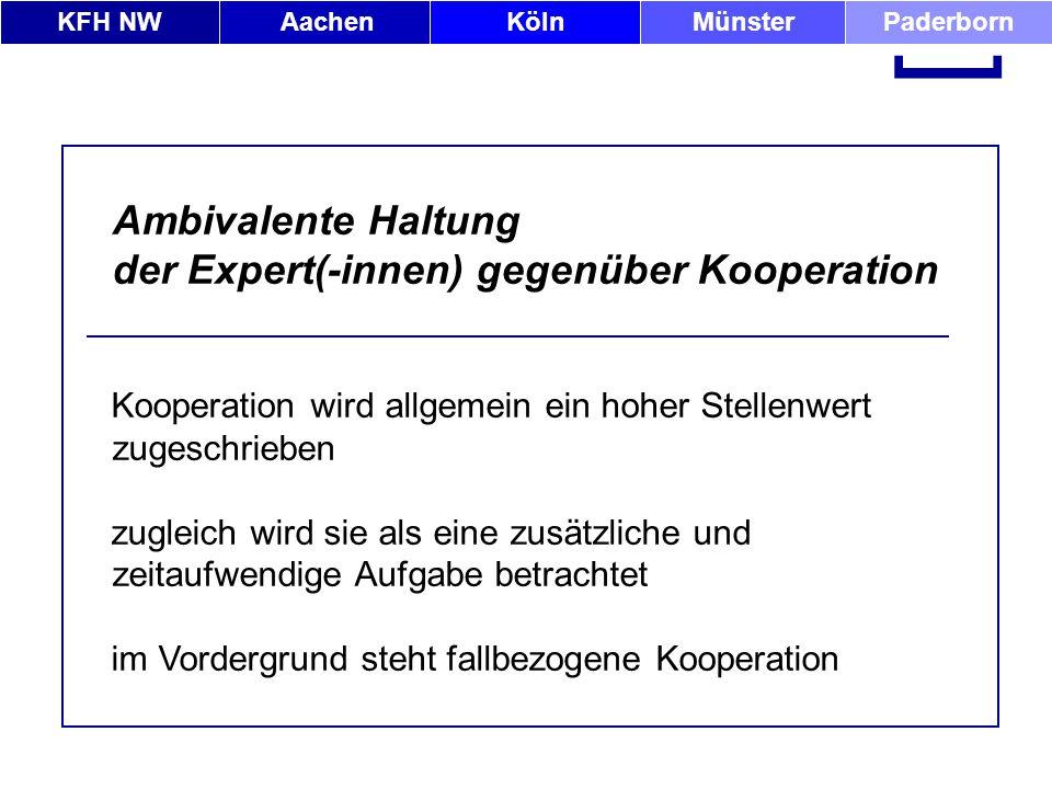 KFH NWAachenKölnMünsterPaderborn [ Ambivalente Haltung der Expert(-innen) gegenüber Kooperation Kooperation wird allgemein ein hoher Stellenwert zuges