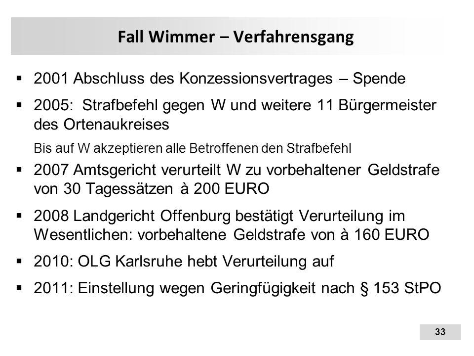 33 Fall Wimmer – Verfahrensgang  2001 Abschluss des Konzessionsvertrages – Spende  2005: Strafbefehl gegen W und weitere 11 Bürgermeister des Ortena