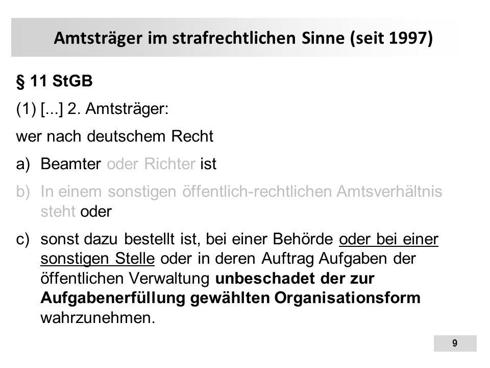 9 Amtsträger im strafrechtlichen Sinne (seit 1997) § 11 StGB (1) [...] 2. Amtsträger: wer nach deutschem Recht  Beamter oder Richter ist  In einem