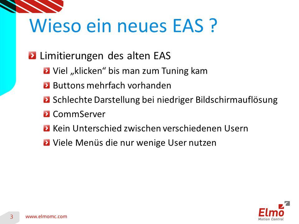 """Limitierungen des alten EAS Viel """"klicken bis man zum Tuning kam Buttons mehrfach vorhanden Schlechte Darstellung bei niedriger Bildschirmauflösung CommServer Kein Unterschied zwischen verschiedenen Usern Viele Menüs die nur wenige User nutzen Wieso ein neues EAS ."""