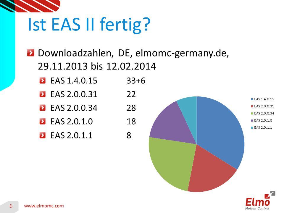 Downloadzahlen, DE, elmomc-germany.de, 29.11.2013 bis 12.02.2014 EAS 1.4.0.1533+6 EAS 2.0.0.3122 EAS 2.0.0.3428 EAS 2.0.1.018 EAS 2.0.1.18 Ist EAS II fertig.
