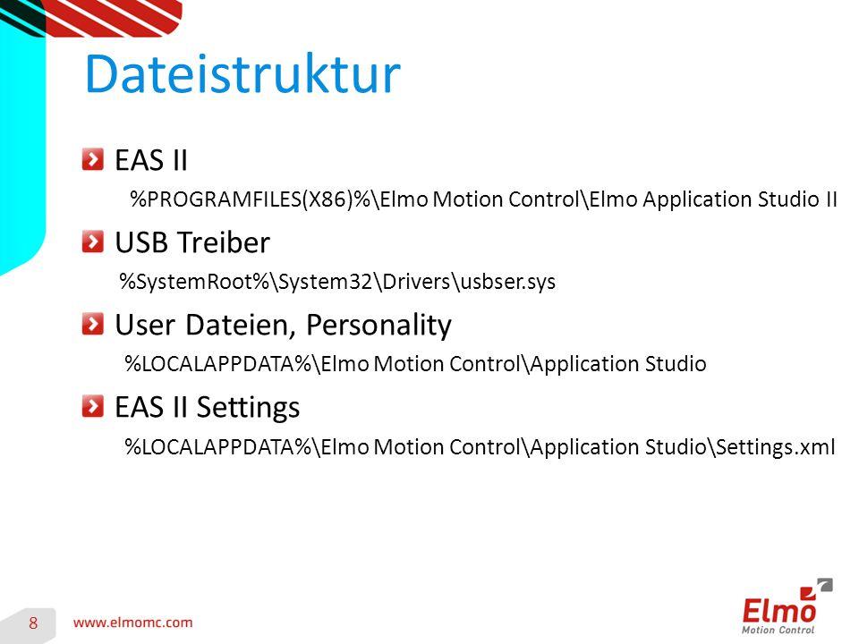 EAS II %PROGRAMFILES(X86)%\Elmo Motion Control\Elmo Application Studio II USB Treiber %SystemRoot%\System32\Drivers\usbser.sys User Dateien, Personality %LOCALAPPDATA%\Elmo Motion Control\Application Studio EAS II Settings %LOCALAPPDATA%\Elmo Motion Control\Application Studio\Settings.xml Dateistruktur 8