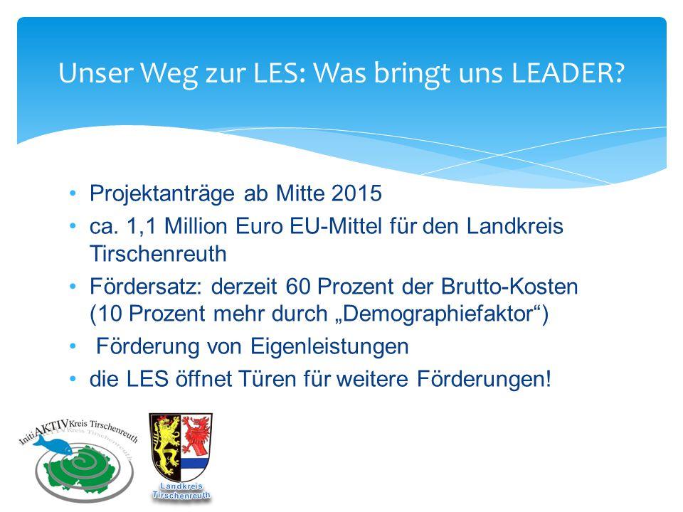 Unser Weg zur LES: Was bringt uns LEADER? Projektanträge ab Mitte 2015 ca. 1,1 Million Euro EU-Mittel für den Landkreis Tirschenreuth Fördersatz: derz