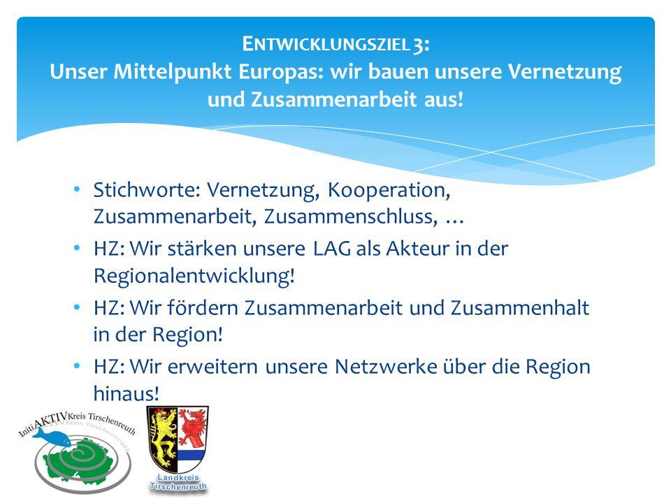 E NTWICKLUNGSZIEL 3: Unser Mittelpunkt Europas: wir bauen unsere Vernetzung und Zusammenarbeit aus! Stichworte: Vernetzung, Kooperation, Zusammenarbei