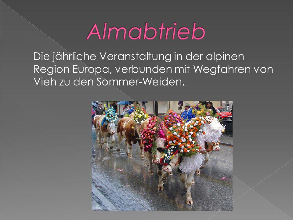 Die jährliche Veranstaltung in der alpinen Region Europa, verbunden mit Wegfahren von Vieh zu den Sommer-Weiden.