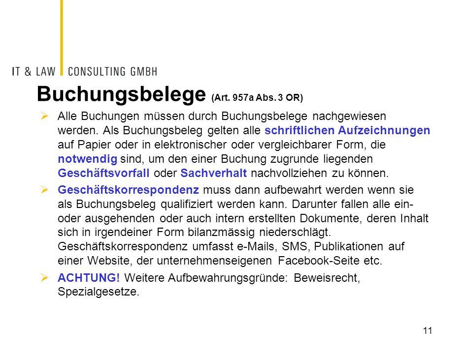 Buchungsbelege (Art.957a Abs.