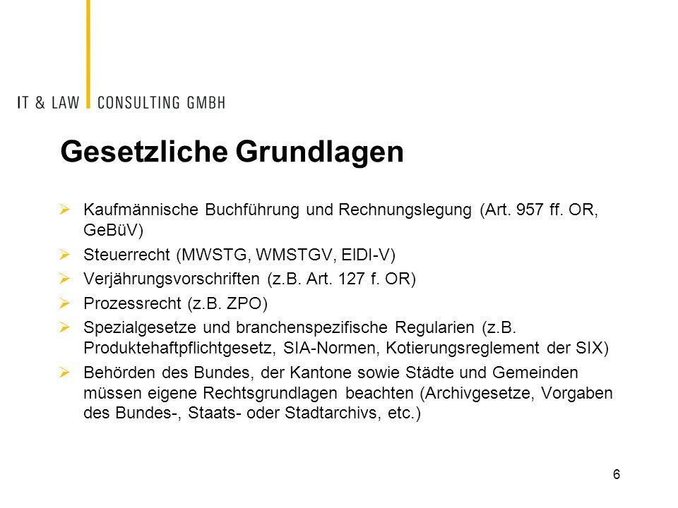 Gesetzliche Grundlagen  Kaufmännische Buchführung und Rechnungslegung (Art.