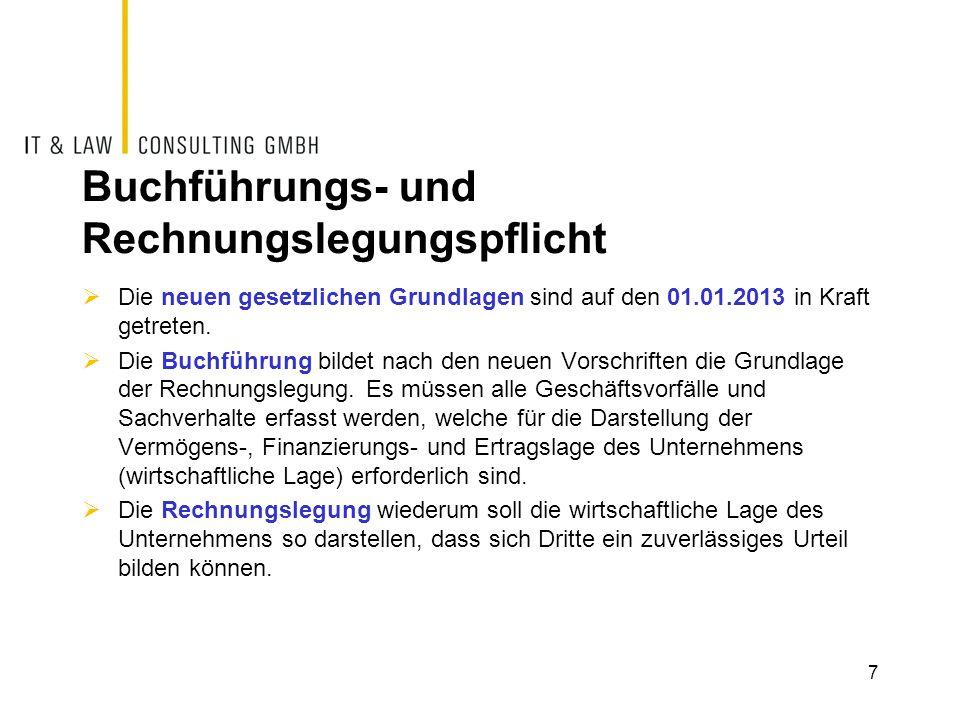 Buchführungs- und Rechnungslegungspflicht  Die neuen gesetzlichen Grundlagen sind auf den 01.01.2013 in Kraft getreten.