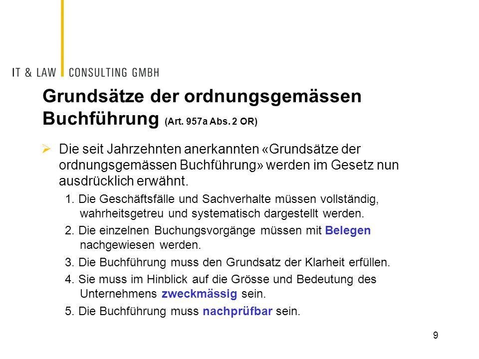 Grundsätze der ordnungsgemässen Buchführung (Art.957a Abs.