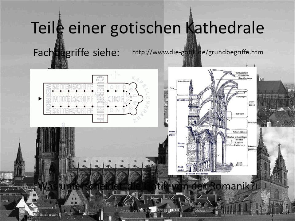 Teile einer gotischen Kathedrale Angelika Stelzer 14.01.2015 http://www.die-gotik.de/grundbegriffe.htm Fachbegriffe siehe: Was unterscheidet die Gotik