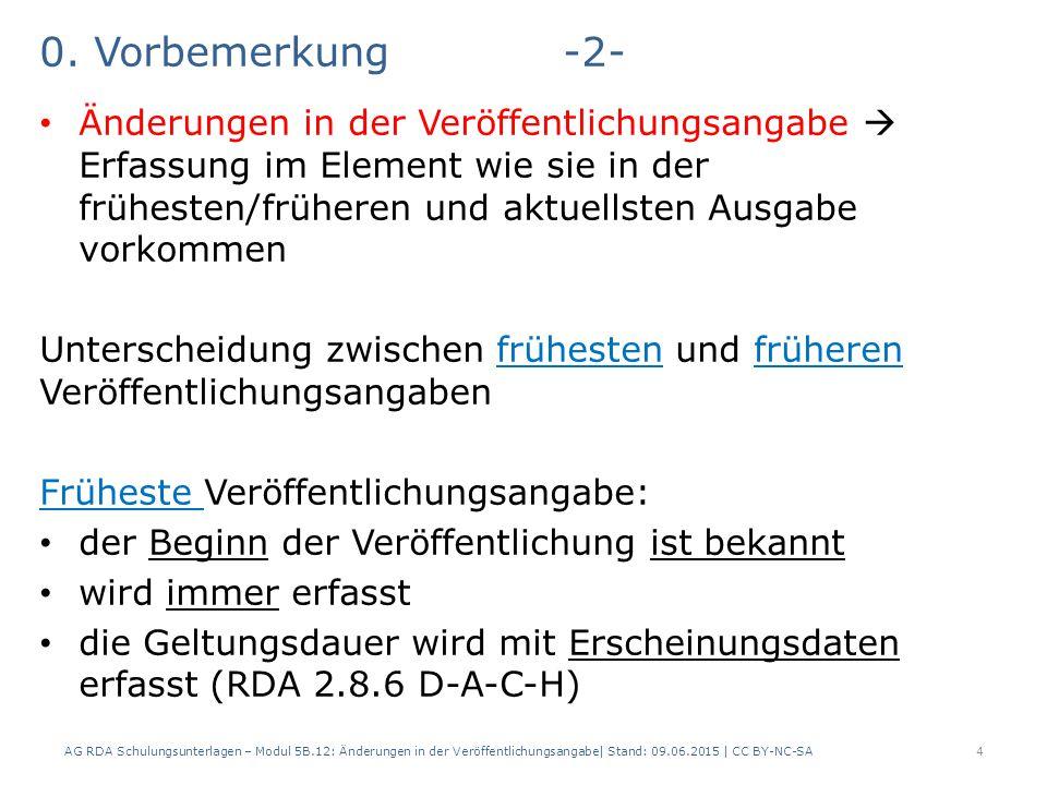 0. Vorbemerkung-2- Änderungen in der Veröffentlichungsangabe  Erfassung im Element wie sie in der frühesten/früheren und aktuellsten Ausgabe vorkomme