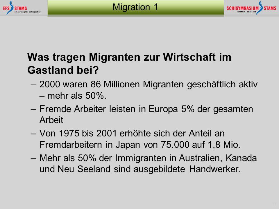 11 Migration 1 Was tragen Migranten zur Wirtschaft im Gastland bei? –2000 waren 86 Millionen Migranten geschäftlich aktiv – mehr als 50%. –Fremde Arbe