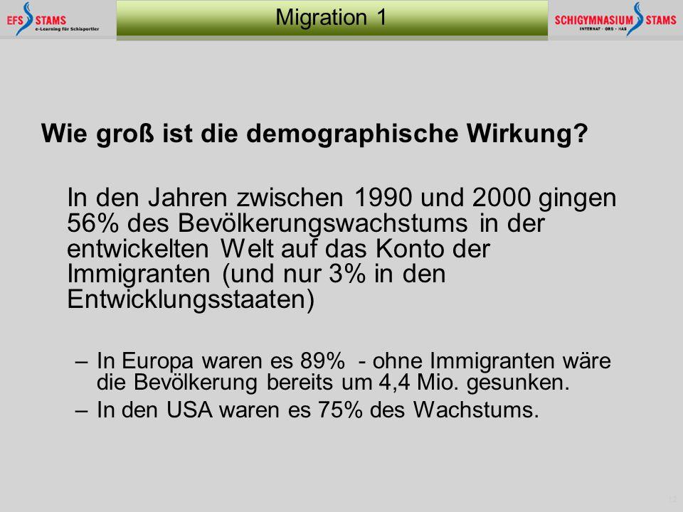 12 Migration 1 Wie groß ist die demographische Wirkung? In den Jahren zwischen 1990 und 2000 gingen 56% des Bevölkerungswachstums in der entwickelten