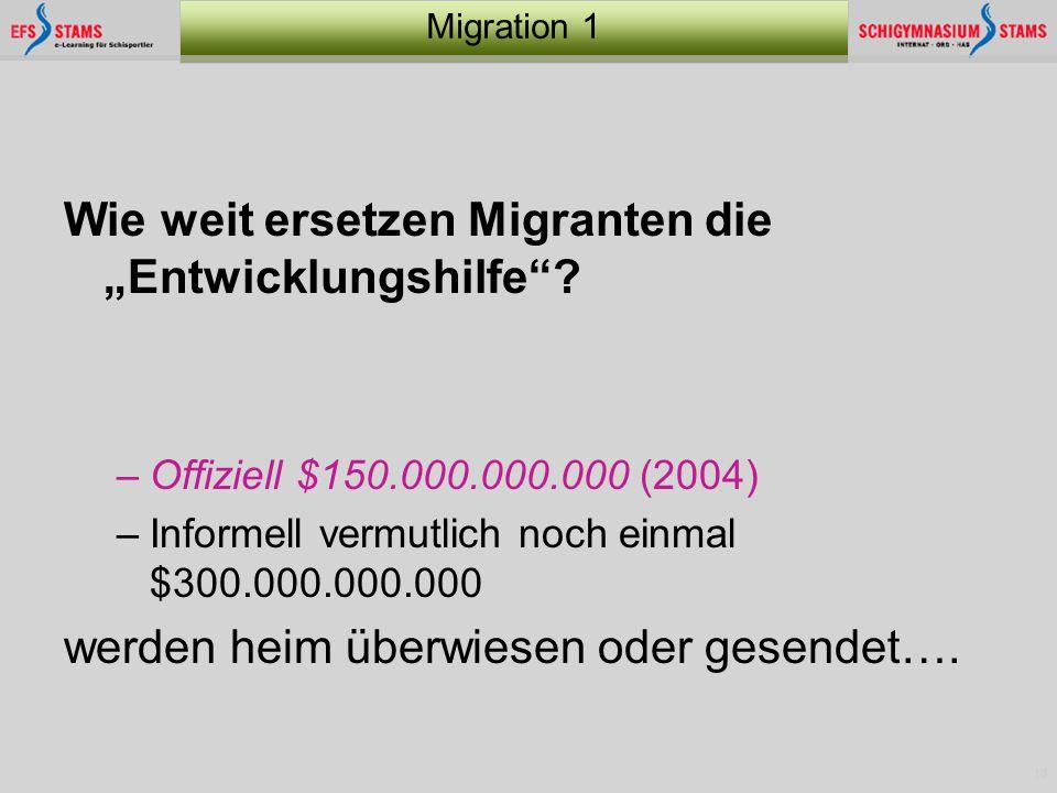"""13 Migration 1 Wie weit ersetzen Migranten die """"Entwicklungshilfe""""? –Offiziell $150.000.000.000 (2004) –Informell vermutlich noch einmal $300.000.000."""