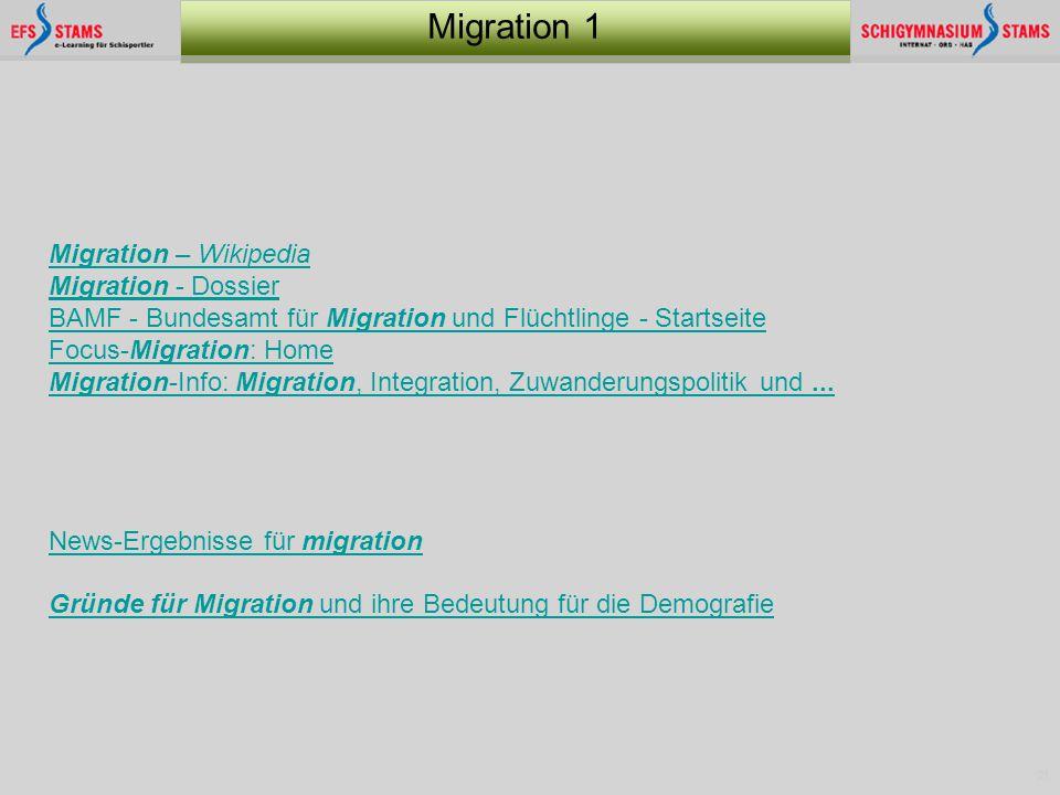 21 Migration 1 Migration – Wikipedia Migration - Dossier BAMF - Bundesamt für Migration und Flüchtlinge - Startseite Focus-Migration: Home Migration-I