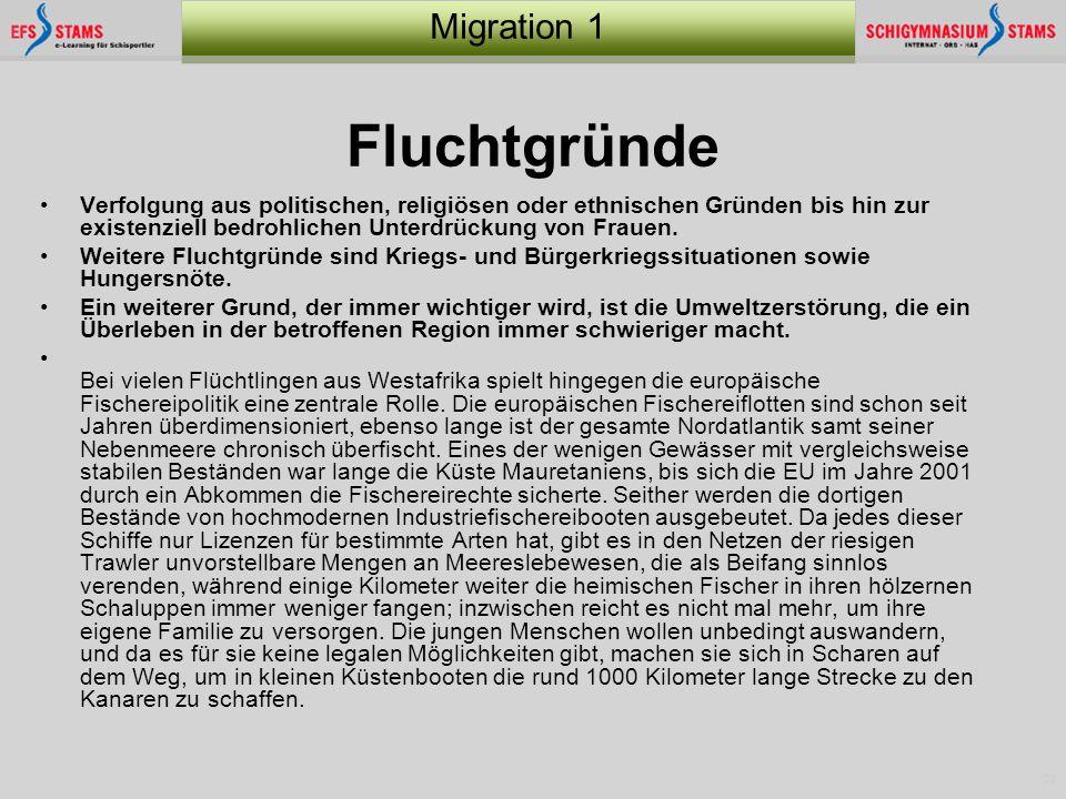 23 Migration 1 Fluchtgründe Verfolgung aus politischen, religiösen oder ethnischen Gründen bis hin zur existenziell bedrohlichen Unterdrückung von Fra