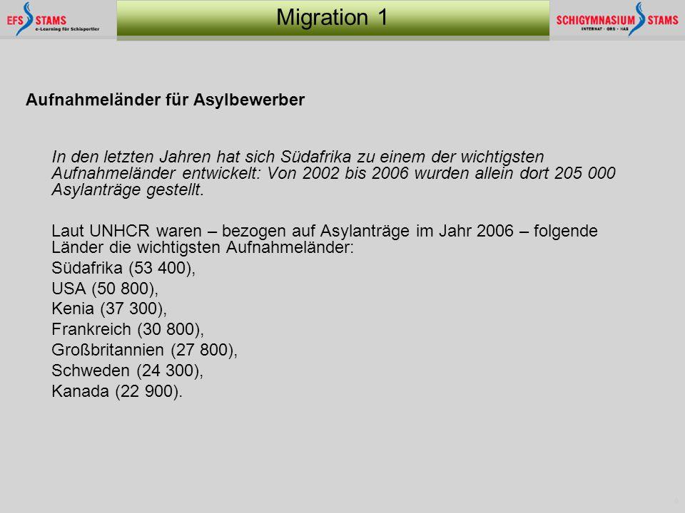 6 Migration 1 Aufnahmeländer für Asylbewerber In den letzten Jahren hat sich Südafrika zu einem der wichtigsten Aufnahmeländer entwickelt: Von 2002 bi
