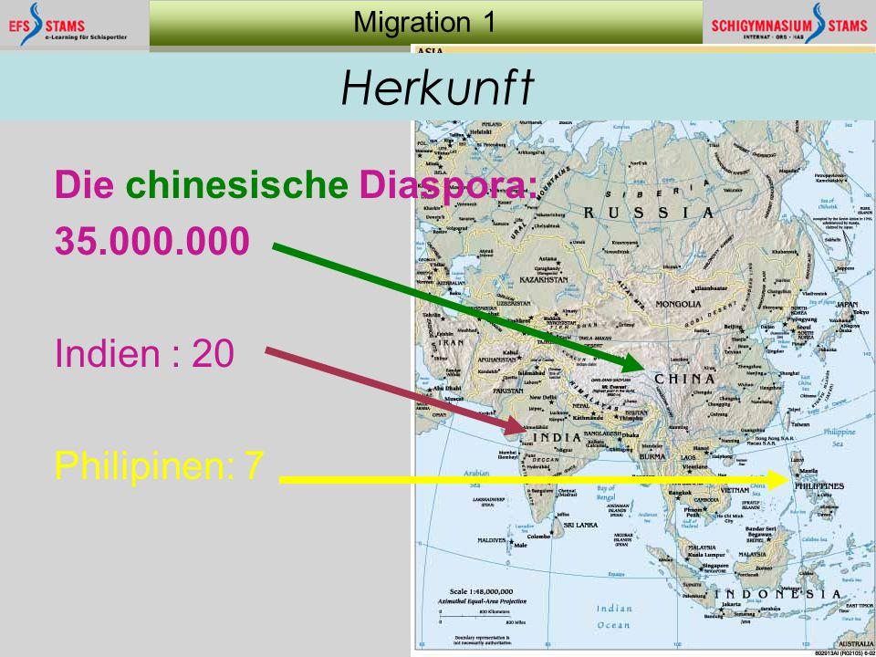 8 Migration 1 Herkunft Die chinesische Diaspora: 35.000.000 Indien : 20 Philipinen: 7