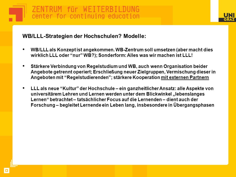 """WB/LLL-Strategien der Hochschulen? Modelle: WB/LLL als Konzept ist angekommen. WB-Zentrum soll umsetzen (aber macht dies wirklich LLL oder """"nur"""" WB?);"""