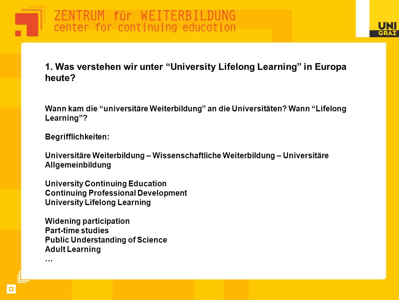 """1. Was verstehen wir unter """"University Lifelong Learning"""" in Europa heute? Wann kam die """"universitäre Weiterbildung"""" an die Universitäten? Wann """"Lifel"""