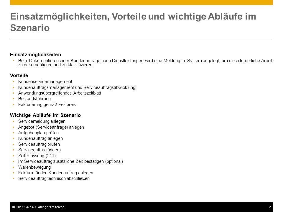 ©2011 SAP AG. All rights reserved.2 Einsatzmöglichkeiten, Vorteile und wichtige Abläufe im Szenario Einsatzmöglichkeiten  Beim Dokumentieren einer Ku