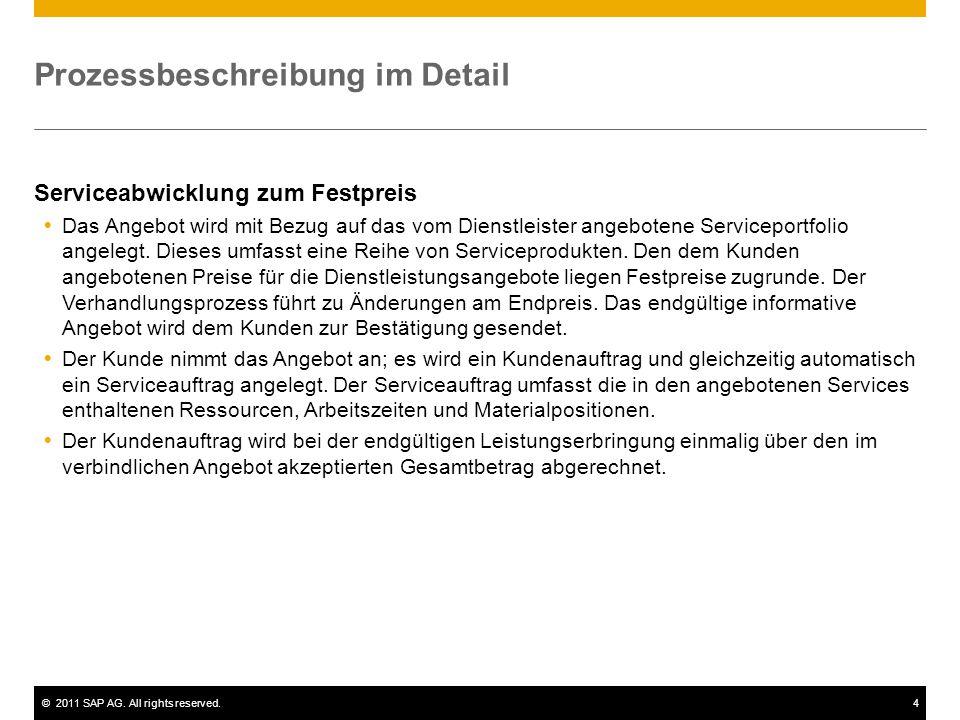 ©2011 SAP AG. All rights reserved.4 Prozessbeschreibung im Detail Serviceabwicklung zum Festpreis  Das Angebot wird mit Bezug auf das vom Dienstleist