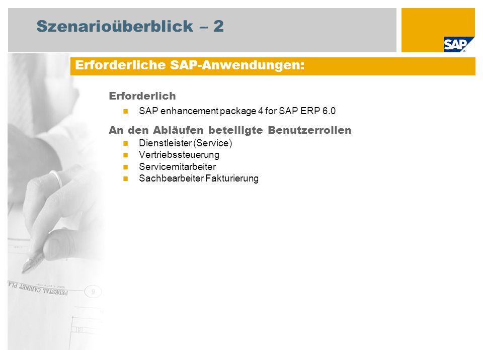 Szenarioüberblick – 2 Erforderlich SAP enhancement package 4 for SAP ERP 6.0 An den Abläufen beteiligte Benutzerrollen Dienstleister (Service) Vertrie