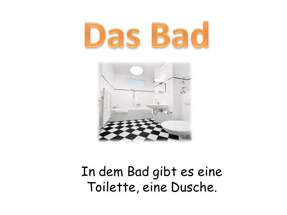 In dem Bad gibt es eine Toilette, eine Dusche.