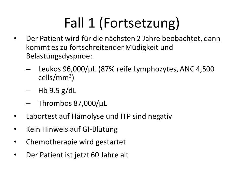 Fall 1 (Fortsetzung) Der Patient wird für die nächsten 2 Jahre beobachtet, dann kommt es zu fortschreitender Müdigkeit und Belastungsdyspnoe: – Leukos
