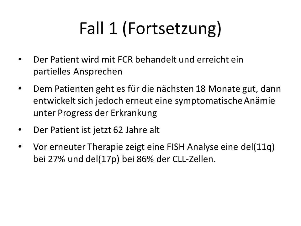 Fall 1 (Fortsetzung) Der Patient wird mit FCR behandelt und erreicht ein partielles Ansprechen Dem Patienten geht es für die nächsten 18 Monate gut, d