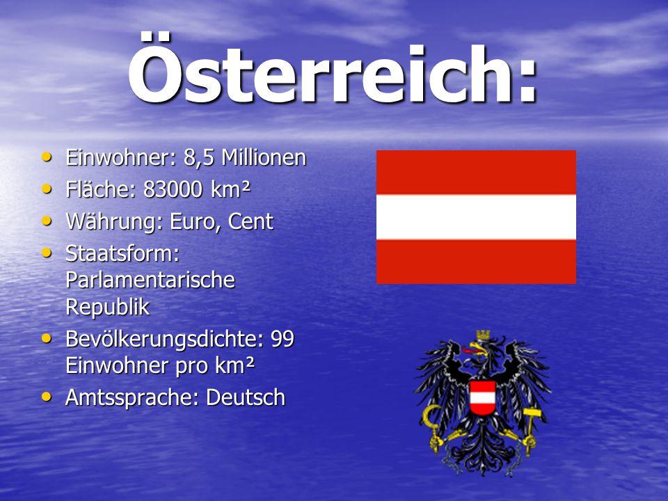 Österreich: Einwohner: 8,5 Millionen Einwohner: 8,5 Millionen Fläche: 83000 km² Fläche: 83000 km² Währung: Euro, Cent Währung: Euro, Cent Staatsform: