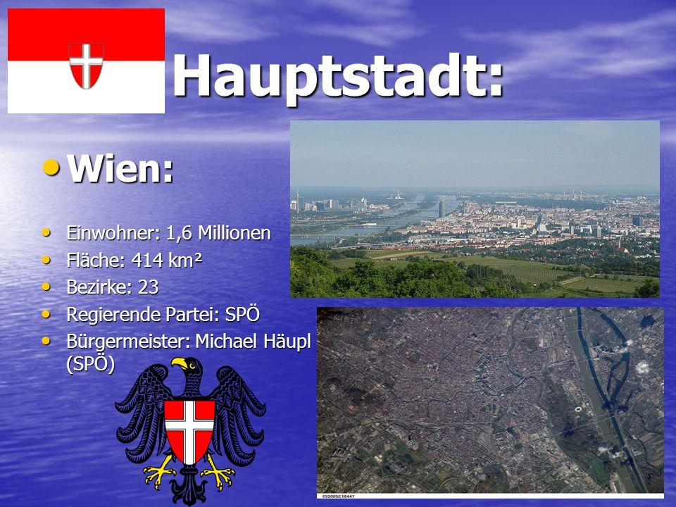 Hauptstadt: Wien: Wien: Einwohner: 1,6 Millionen Einwohner: 1,6 Millionen Fläche: 414 km² Fläche: 414 km² Bezirke: 23 Bezirke: 23 Regierende Partei: S