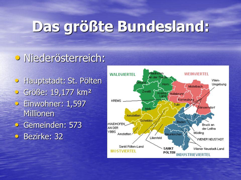 Das größte Bundesland: Niederösterreich: Niederösterreich: Hauptstadt: St. Pölten Hauptstadt: St. Pölten Größe: 19,177 km² Größe: 19,177 km² Einwohner