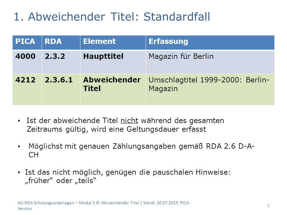 AG RDA Schulungsunterlagen – Modul 5 B: Abweichender Titel | Stand: 20.07.2015 PICA- Version 5 PICARDAElementErfassung 40002.3.2HaupttitelMagazin für Berlin 42122.3.6.1Abweichender Titel Umschlagtitel 1999-2000: Berlin- Magazin 1.