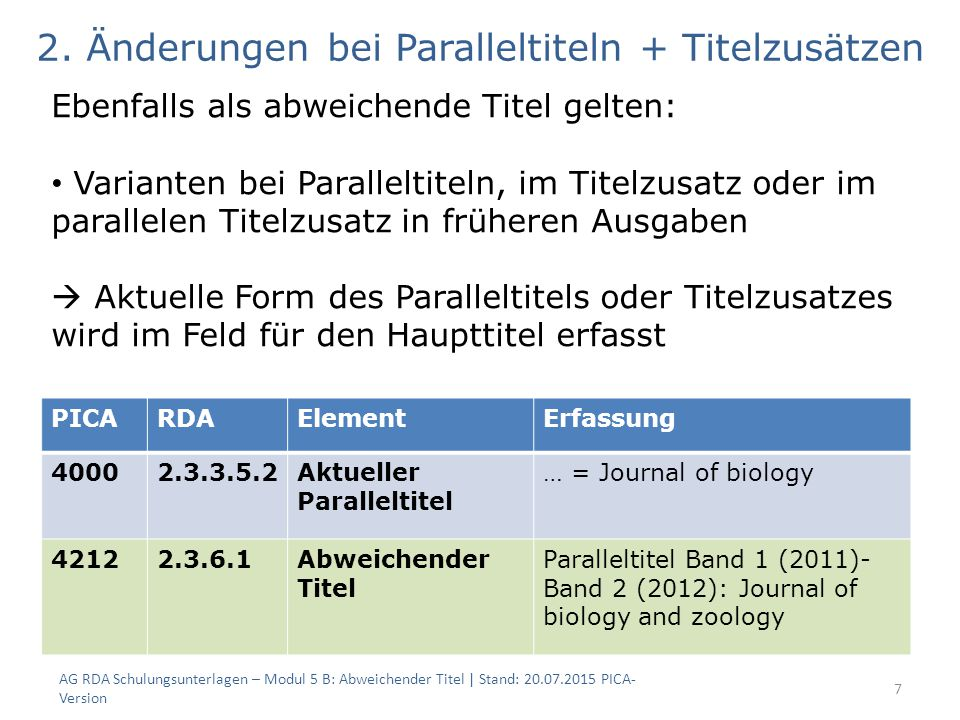 7 PICARDAElementErfassung Aktueller Paralleltitel … = Journal of biology Abweichender Titel Paralleltitel Band 1 (2011)- Band 2 (2012): Journal of biology and zoology 2.