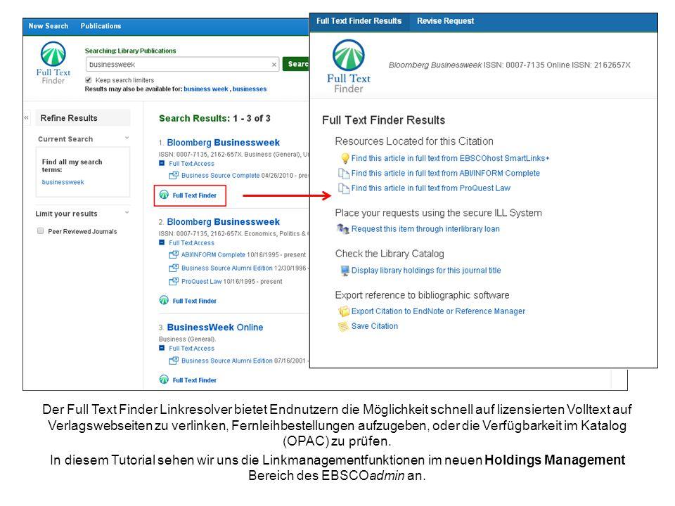 Der Full Text Finder Linkresolver bietet Endnutzern die Möglichkeit schnell auf lizensierten Volltext auf Verlagswebseiten zu verlinken, Fernleihbestellungen aufzugeben, oder die Verfügbarkeit im Katalog (OPAC) zu prüfen.