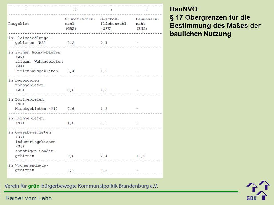Rainer vom Lehn BauNVO § 17 Obergrenzen für die Bestimmung des Maßes der baulichen Nutzung