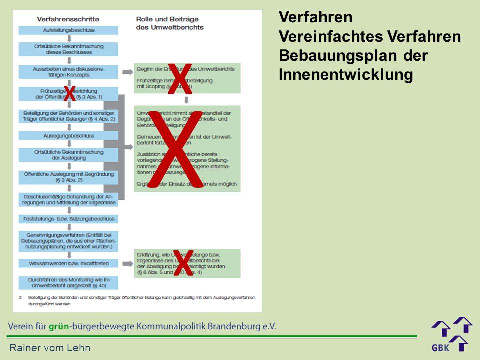 Rainer vom Lehn X X X X Verfahren Vereinfachtes Verfahren Bebauungsplan der Innenentwicklung