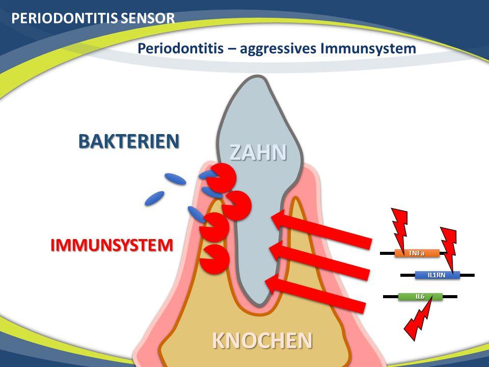 PERIODONTITIS SENSOR Periodontitis – aggressives Immunsystem ZAHN KNOCHEN BAKTERIEN IMMUNSYSTEMTNFa IL1RN IL6
