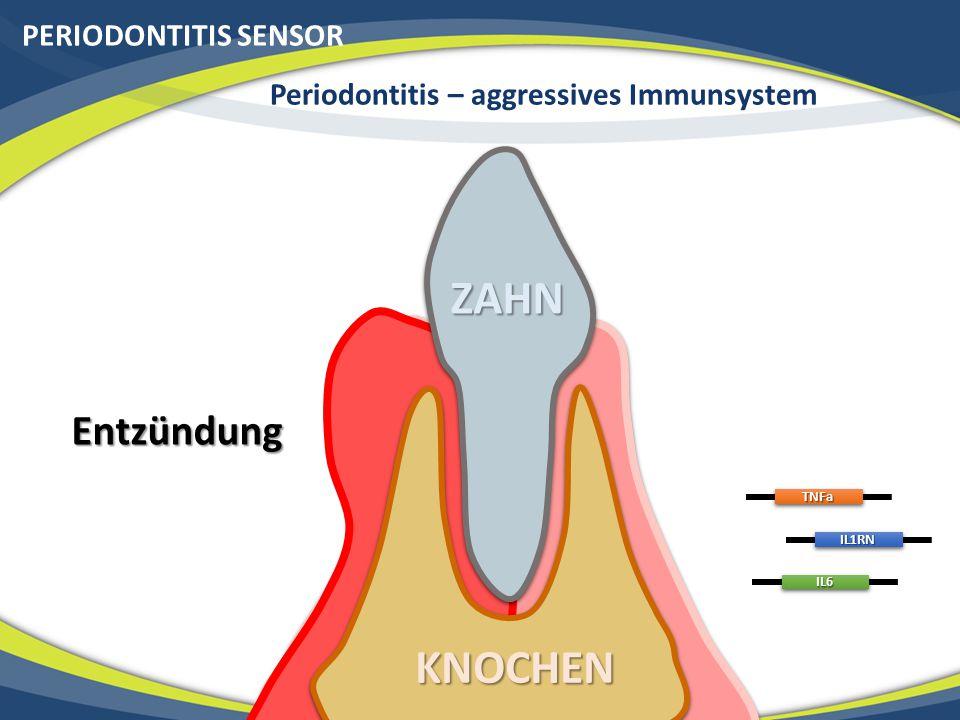 KNOCHEN PERIODONTITIS SENSOR EntzündungTNFa IL1RN IL6ZAHN Periodontitis – aggressives Immunsystem