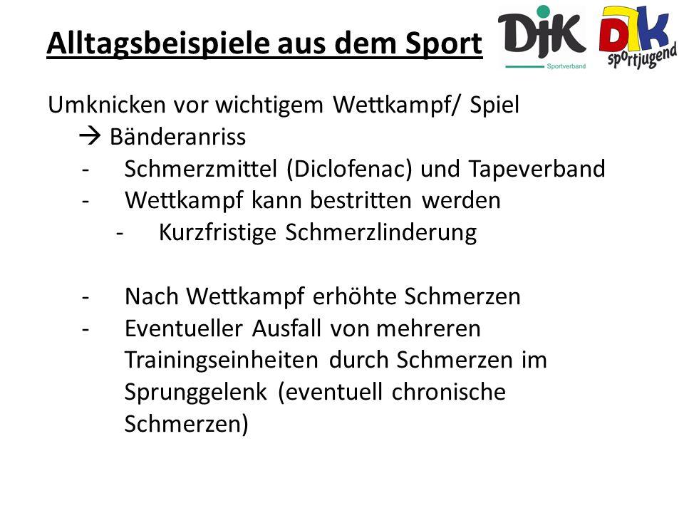 Umknicken vor wichtigem Wettkampf/ Spiel  Bänderanriss -Schmerzmittel (Diclofenac) und Tapeverband -Wettkampf kann bestritten werden -Kurzfristige Sc