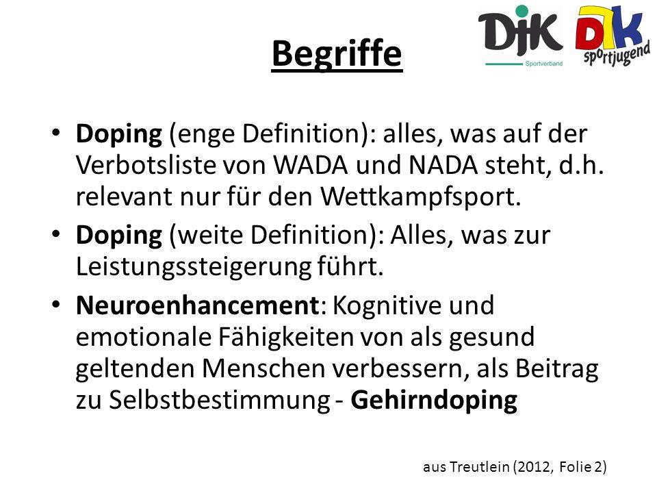 Begriffe Doping (enge Definition): alles, was auf der Verbotsliste von WADA und NADA steht, d.h. relevant nur für den Wettkampfsport. Doping (weite De