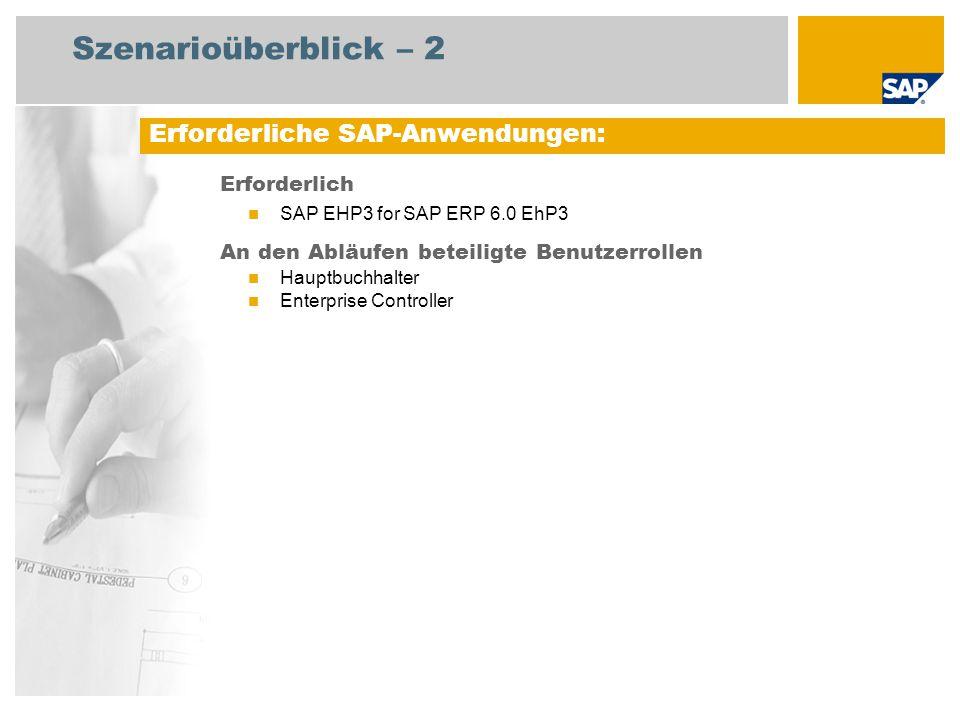 Szenarioüberblick – 2 Erforderlich SAP EHP3 for SAP ERP 6.0 EhP3 An den Abläufen beteiligte Benutzerrollen Hauptbuchhalter Enterprise Controller Erforderliche SAP-Anwendungen: