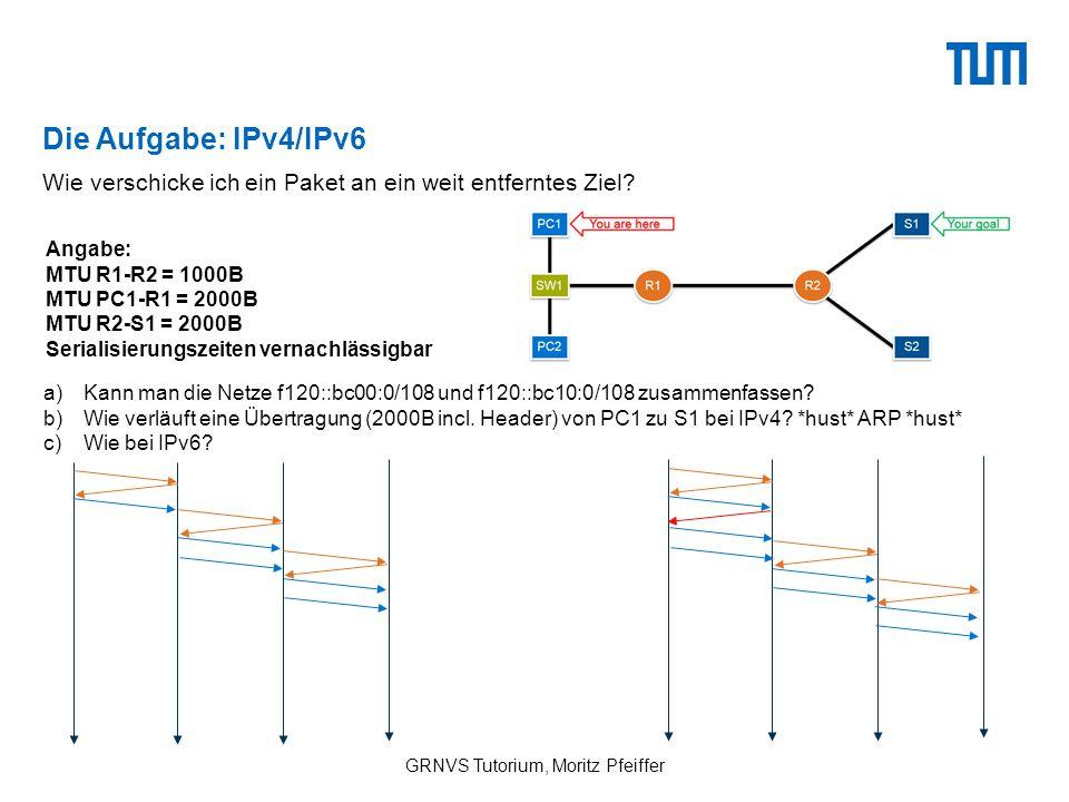 Die Aufgabe: IPv4/IPv6 GRNVS Tutorium, Moritz Pfeiffer Wie verschicke ich ein Paket an ein weit entferntes Ziel.