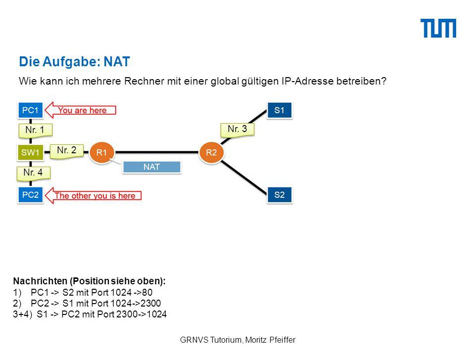 Die Aufgabe: NAT GRNVS Tutorium, Moritz Pfeiffer Wie kann ich mehrere Rechner mit einer global gültigen IP-Adresse betreiben.